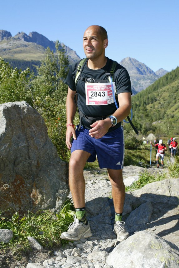 Mike L running in the Alps