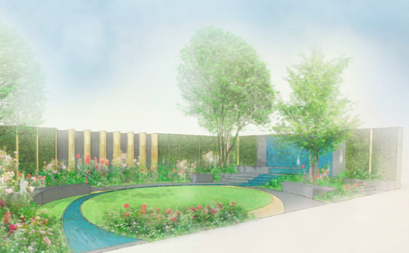 Illustration for the Chelsea Barracks Show Garden, designed by Jo Thompson