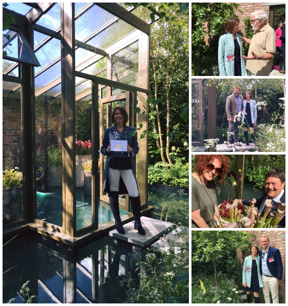 Catherine in the Opus Glass House with her SILVER GILT medal. Together with (top to bottom) lifelong hero David Bellamy on the garden, and with contributors foreman Will Gadd, Claire Soper & Matt Soper of Hampshire Carnivorous Plants, and Michael Buck of Hortus Loci.