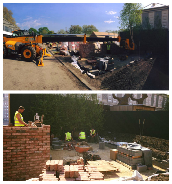 Placing trees on the garden by crane, and the progress of the brick wall.