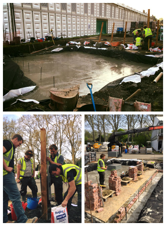 The Landscape Academy team, setting out, starting the blockwork and getting the concrete pour in.