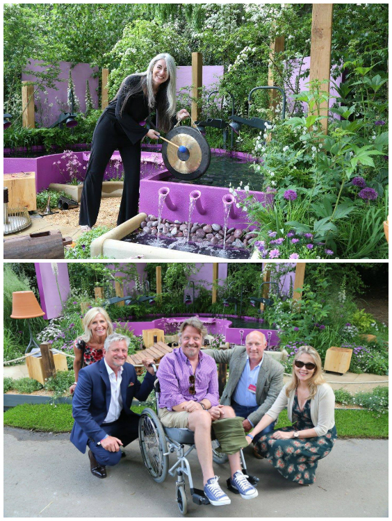 Top: Dame Evelyn Glennie - the inspiration for the garden. Bottom: Mark Gregory with our friend Charley Boorman and the Papworth Trust.