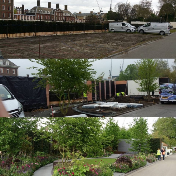 Before, during & finished! GOLD winning Chelsea Barracks Garden, designed by Jo Thompson