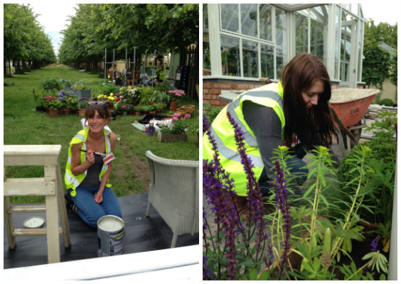 Kate busy painting, and Rhiannon cracking on with the planting.
