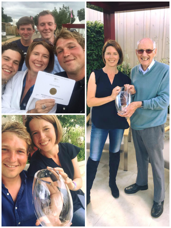 TOP LEFT: Joel, Charlie, Matthew, Ed & Catherine with the GOLD medal; BOTTOM LEFT: Ed & Catherine with the People's Choice Award; RIGHT: Catherine with Colin Squire, Squire's Chairman with the award.